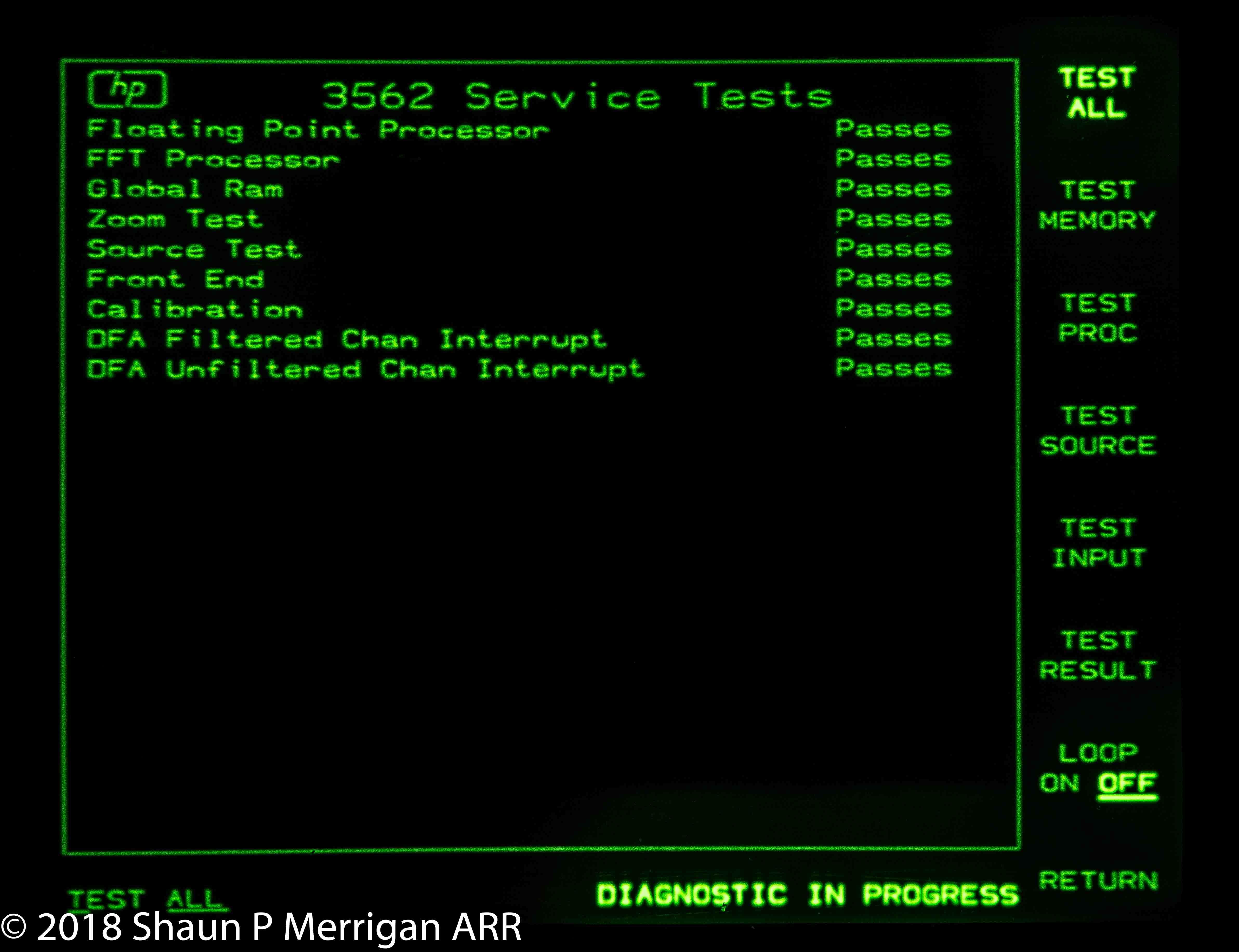 HP 3256A CRT Service Test Screen