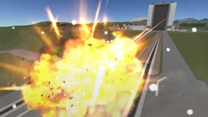 A rocket in Kerbal Space Program exploding.