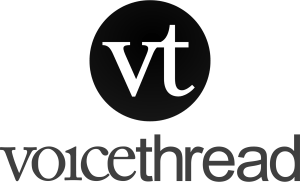 The logo of VoiceThread: the initials vt with voicethread written under it.