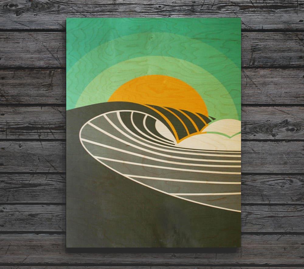 POINT BREAK Breaking Wave At Sunrise Wood Print
