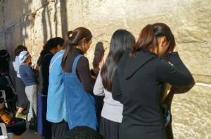Chinese Jewish women pray at the Western Wall