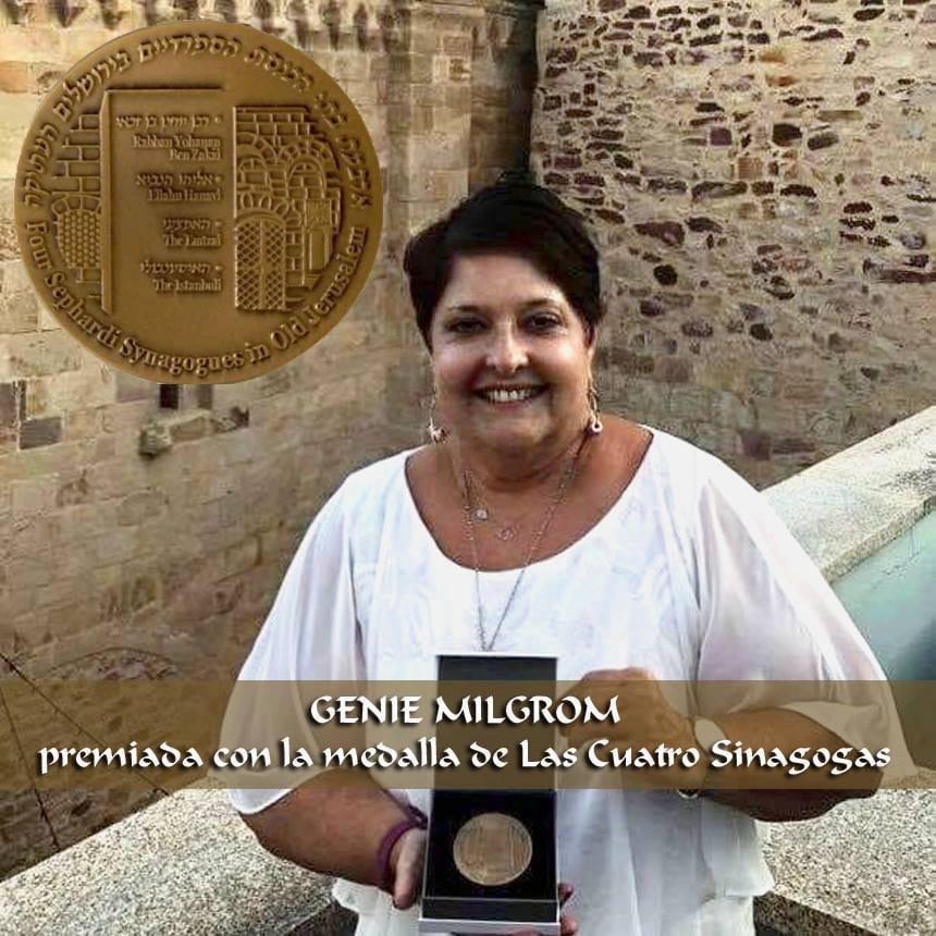 Genie Milgrom z Miami na Florydzie, otrzymała medal od czterech sefardyjskich synagog z Jerozolimy