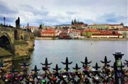 The view over the Vltava river in Prague Czech Republic