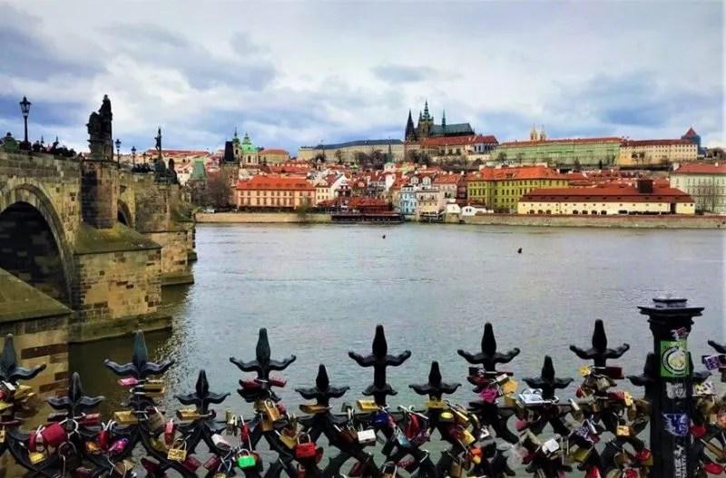 The view over the Vltava river in Prague Czech Republic