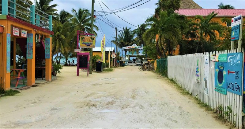 The bumpy road in Caye Caulker island