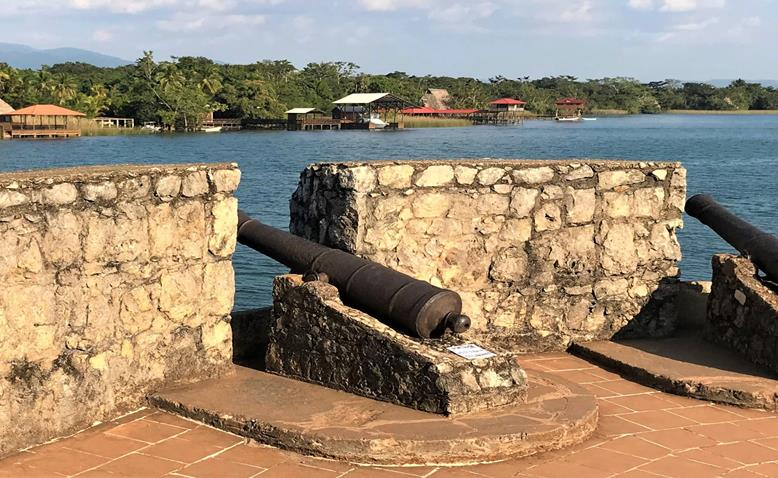 Cannons inside the Castillo de Felipe in Rio Dulce