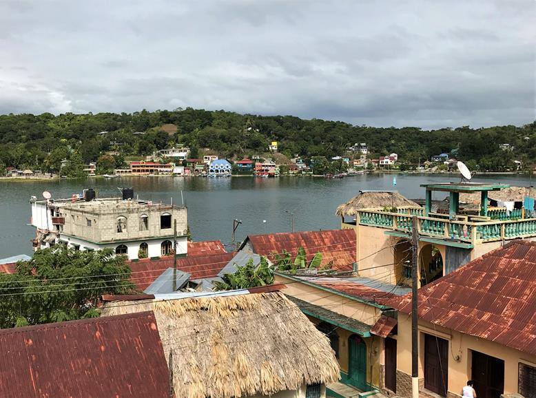 The lakeview and the roof of the houses in Flores