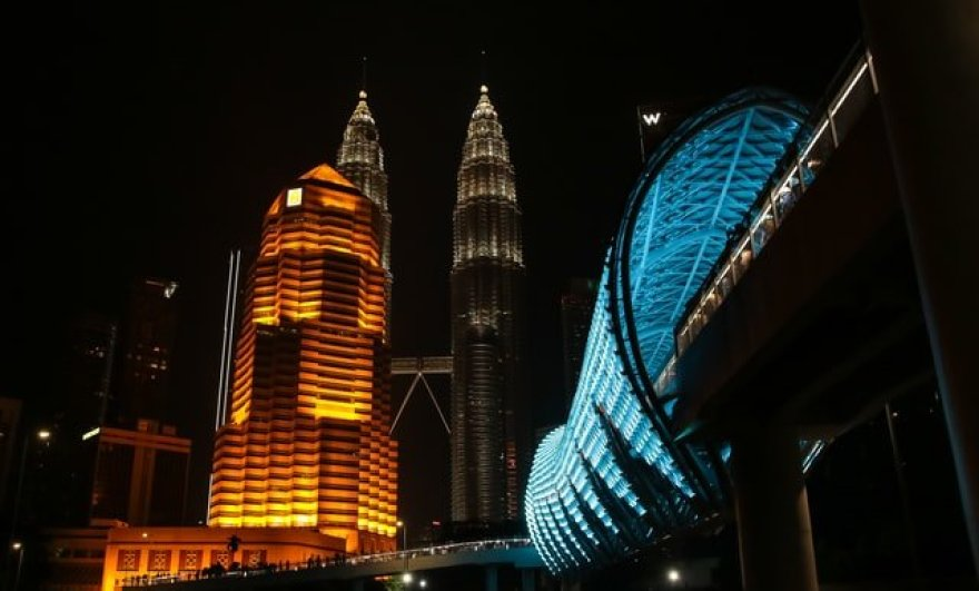 The Petronas twin tower at night