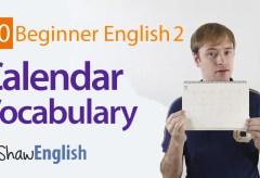 Basic English Calendar Vocabulary