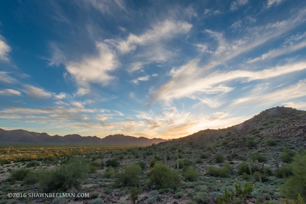 Sunset, Sonoran Desert National Monument, Feb 2016