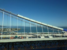 A new section of the Bay Bridge being constructed