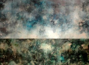 "Troubled Sky | 30"" x 40"" Encaustic on panel - ©ShawnaMoore"
