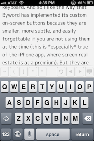 The Keyboard in Byword on iPhone