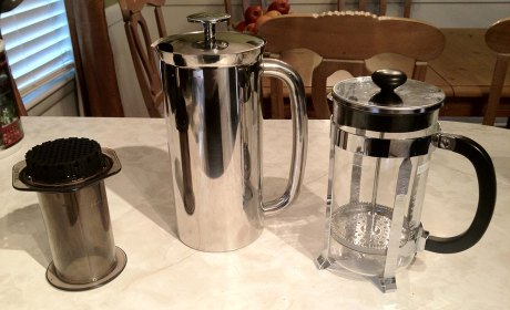 AeroPress, Espro Press, and classic Bodum french press