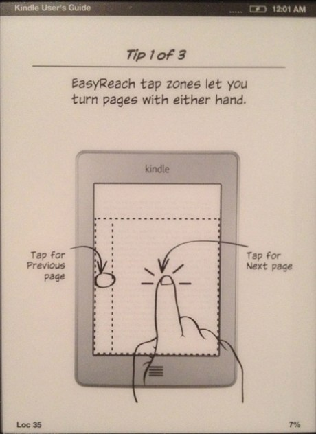 The tap targets for the Kindle Touch