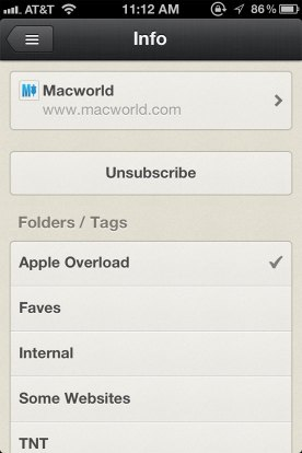 The Feed-Specifi Info Pane in Reeder 3