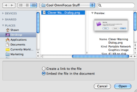 Embedding a file in OmniFocus
