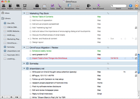 OmniFocus User Interface, version 1.8