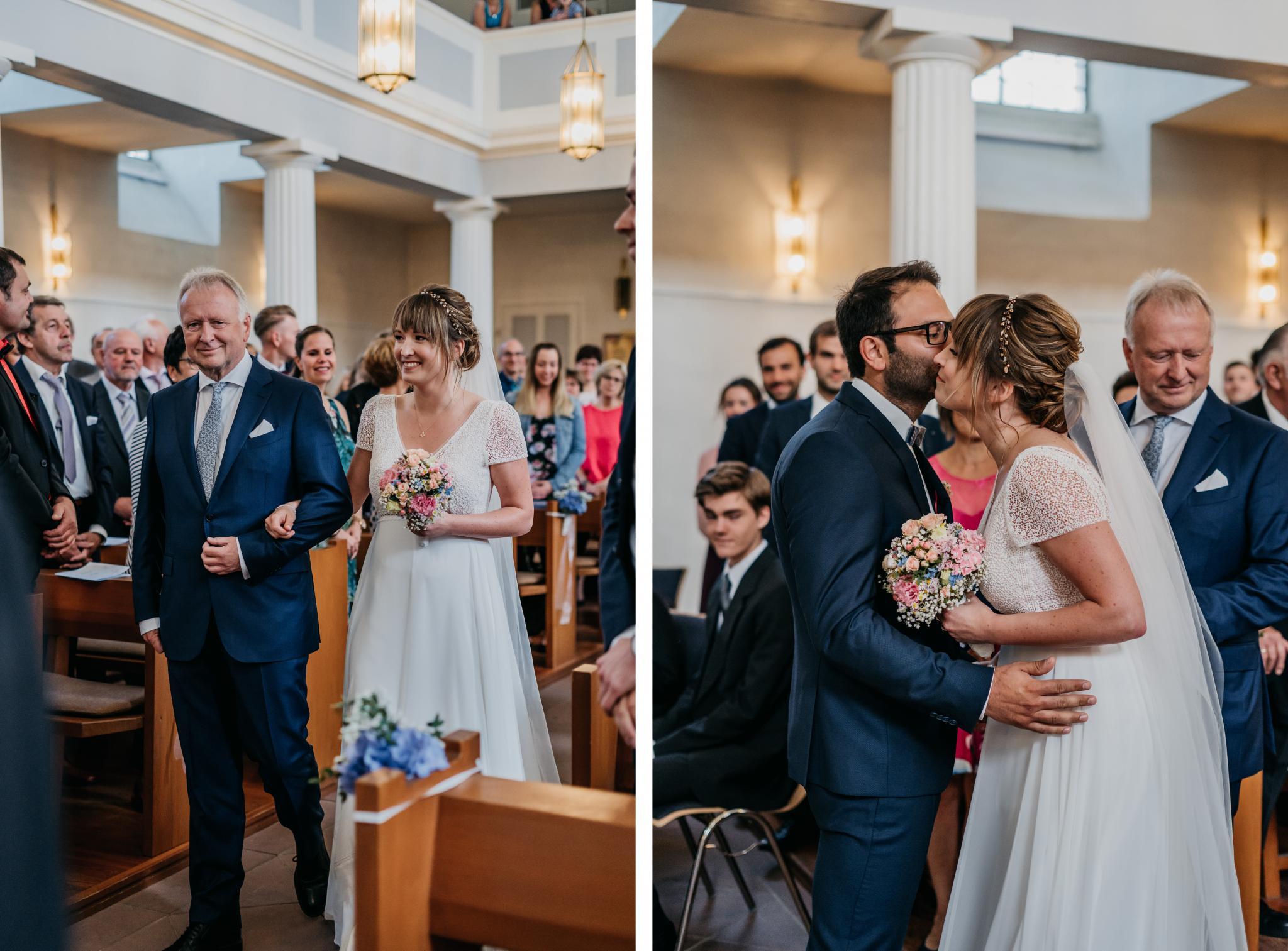 Hochzeit auf Schloss Heiligenberg Einzug Braut & Brautvater