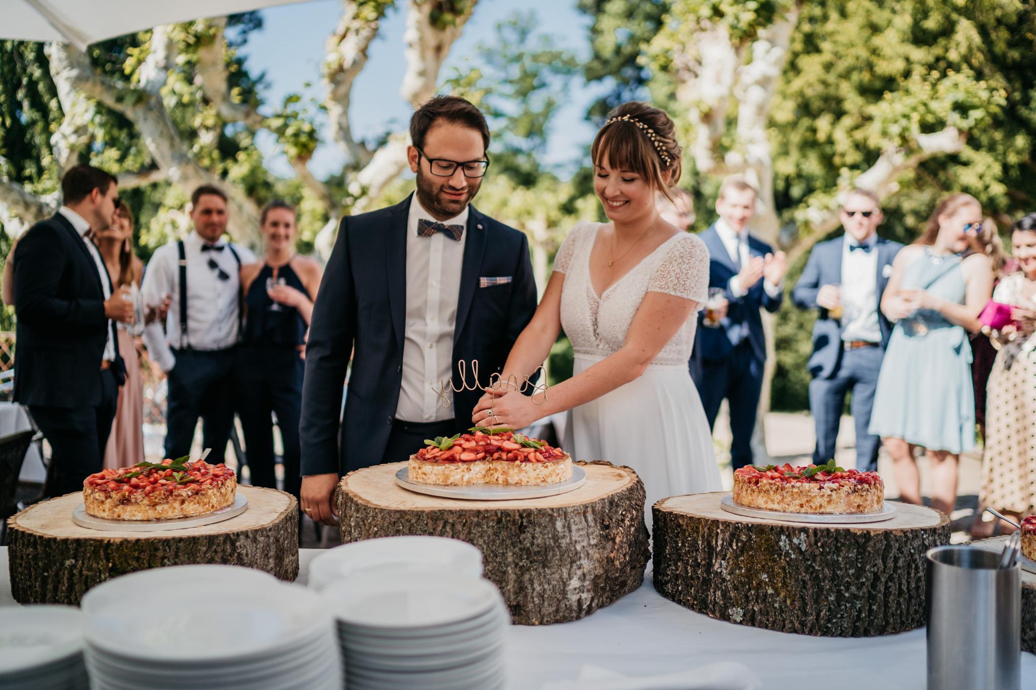 Hochzeit auf Schloss Heiligenberg Anschnitt Hochzeitstorte