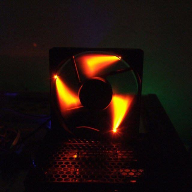 Orange LED case fan mod