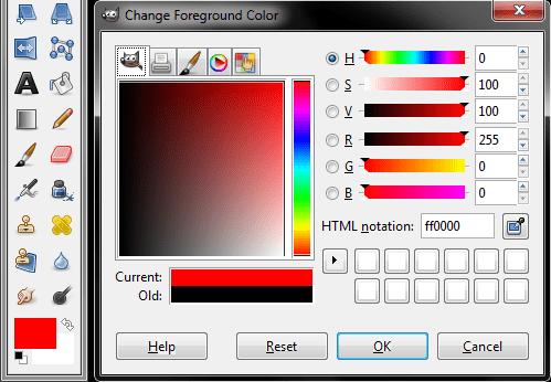 GIMP color selector