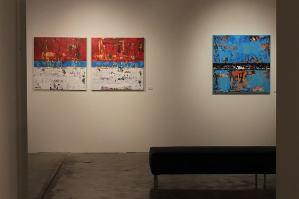 art gallery with contemporary paintings