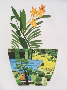 Jonas Wood Landscape Pot Yellow Orchid Print
