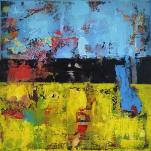 Hay 1 Yellow Blue Modern Painting