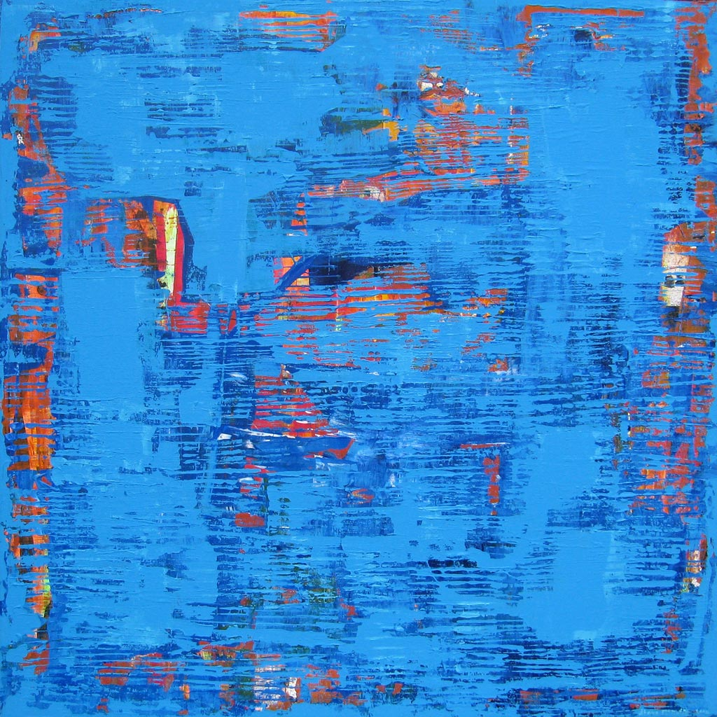 Copasetic Abstract Waves Ripples Blue Painting