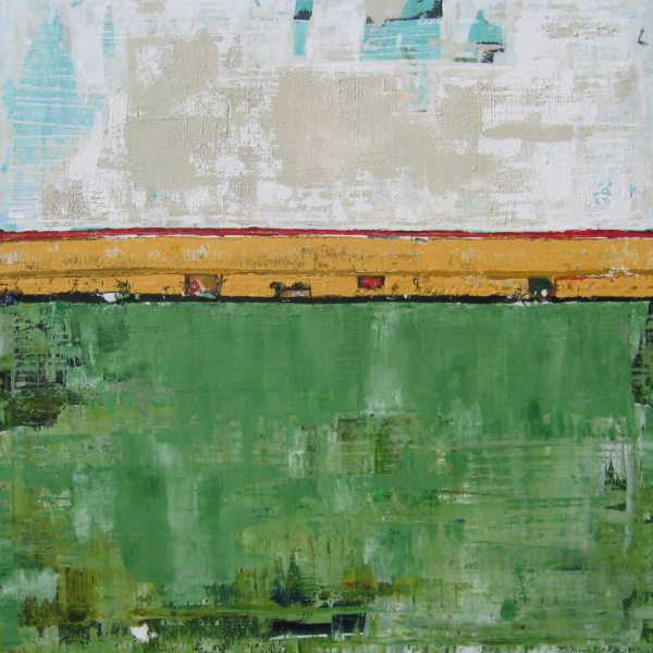 Manifest Green Gold Abstract Painting