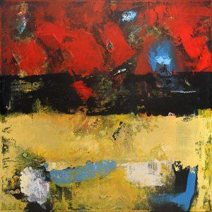 Farmington Red Black Yellow Abstract Landscape