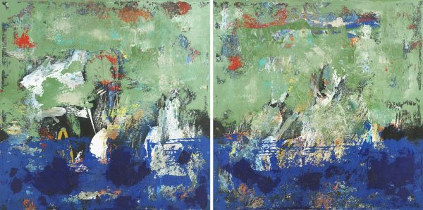 Finback Whale Blue Green Abstract Diptych Painting
