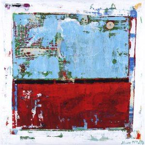 Fringe Benefits Dark Red Light Blue Abstract Art