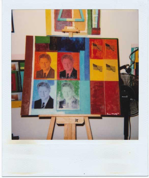Four Clintons Pop Art Painting Polaroid