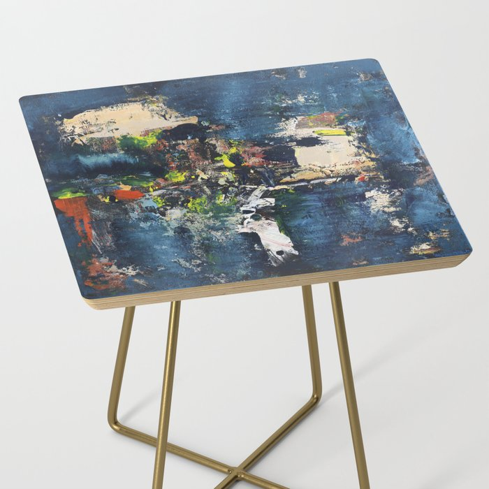 Peacock Blue Abstract Painting Vibrant Modern Art Side Table