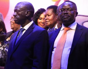 Presidential Candidates; Dr. Kizza Besigye, Prof Vernasias Baryamureeba after the debate. Photo by: Ronnie Mayanja