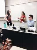 Executive officers Ashley Reed, Lauren Joiner, and Alex Marion chat before the second NAMI UGA general body meeting.