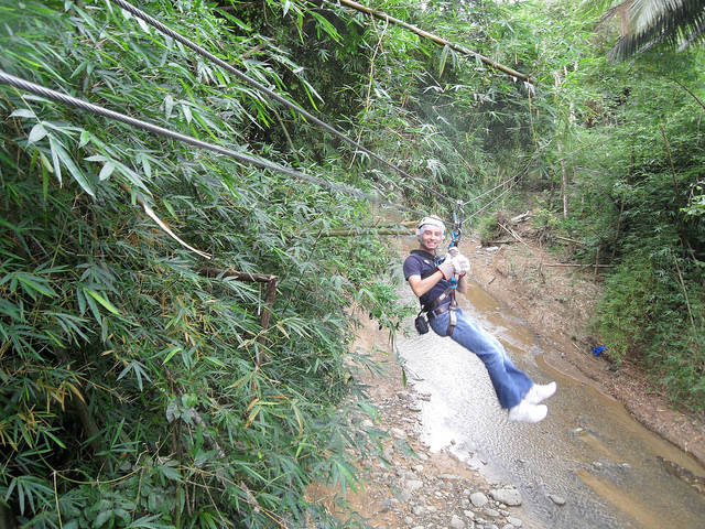 Shawn zip-lining in St Lucia