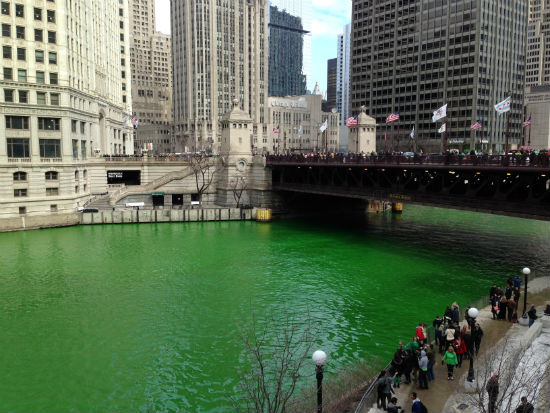 Chicago River on Michigan Ave St. Patricks Day