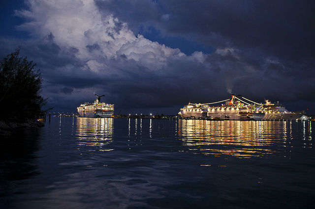 cruise ships at night