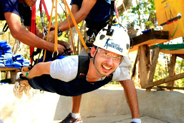 Zip-lining in Puerto Vallarta - Shawn on Big Papa