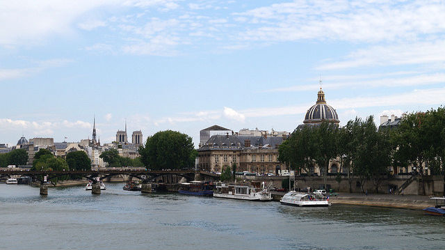 Paris France - River Seine facing towards Ile de la Cite