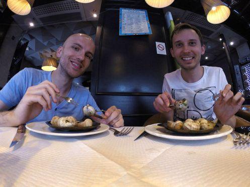 Paris France - Us eating escargot