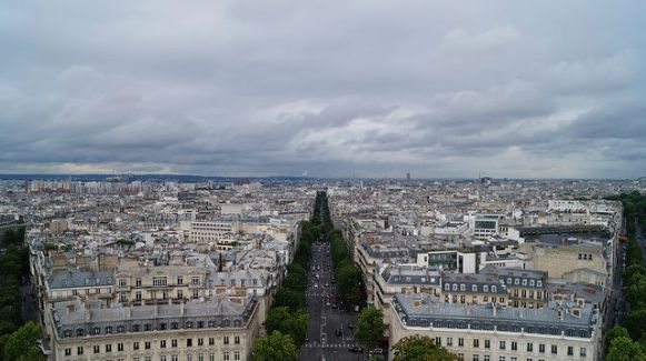Paris France - View from the top of Arc de Triomphe