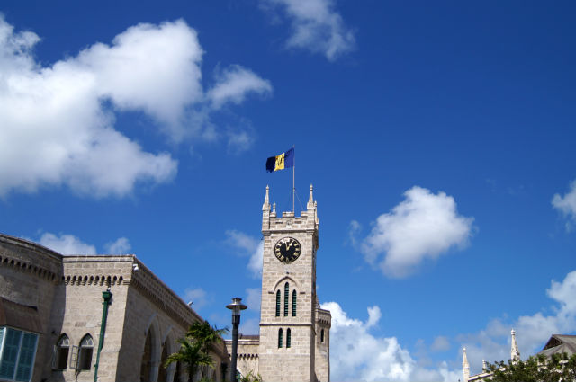 Bathing in Barbados - Barbados Flag