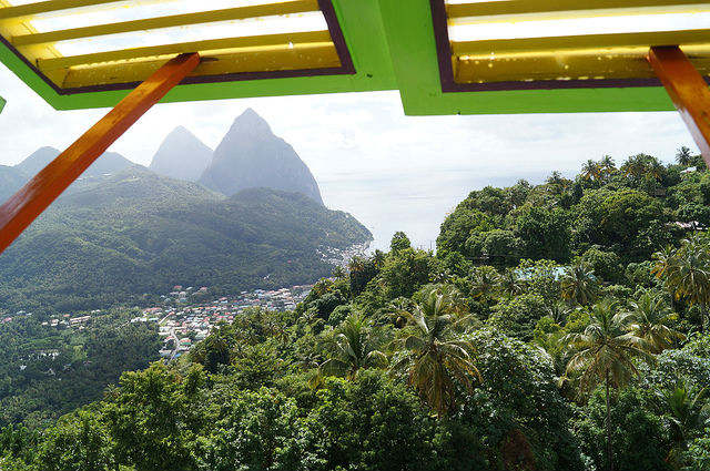 Exploring the Island of St. Lucia - Eating while looking at the Pitons