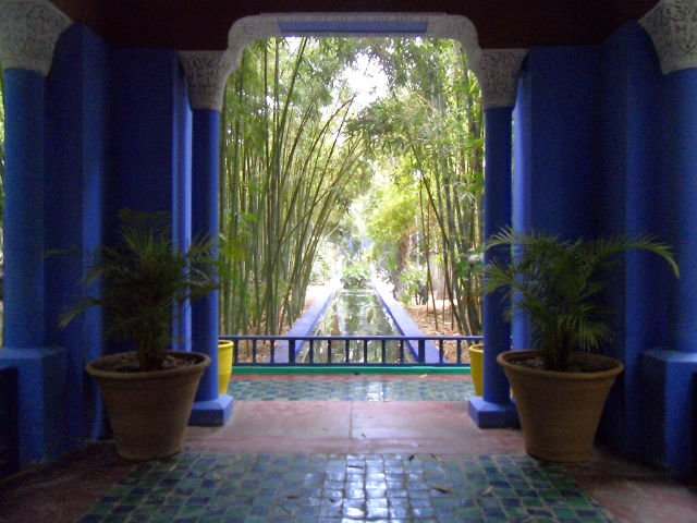 Marrakesh Morocco - Its People and Sights - At the Majorelle Gardens with the deep blue