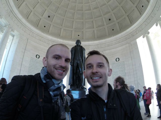 Highlights of Washington DC - Roman and Shawn at the Jefferson monument