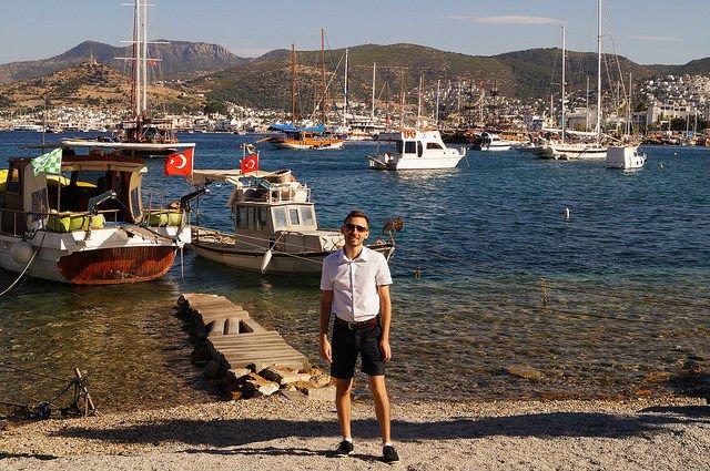 A Day in Bodrum Turkey - Shawn at the Bodrum Harbor Turkey